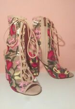 Liliana Sage-59 Beige Embroidered Floral Peep-Toe Lace-Up Chunky Heels US 6