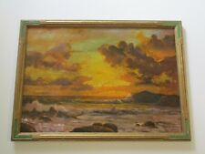 LARGE ROBERT WOOD PAINTING ANTIQUE SUNSET EARLY CALIFORNIA AMERICAN COASTAL SEA
