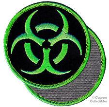 BIOHAZARD SYMBOL embroidered PATCH ZOMBIE GREEN emblem w/ VELCRO® Brand Fastener
