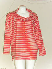 St. John's Bay Long Sleeve Cowlneck French Terry Tunic Plus Coral Red Stripe 3X