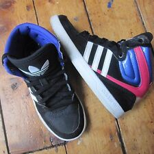 Adidas Court Attitude Hi High Top Trainers Black Pink Purple Trefoil UK 2 EUR 34