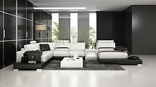Modern Large LEATHER SOFA Corner Suite NEW RRP £5499 Black White