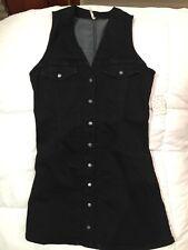 274a0a95d9 Free People Black Spandex Denim Sleeveless V Neck Jean Mini Casual Dress  Size 8