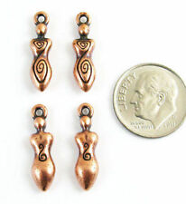 Copper Spiral Goddess Charms, TierraCast Lead-Free Pewter (4 Pieces)