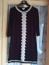 Ladies Monsoon Size XL Black Jumper Dress 3/4 Sleeve Knee Length Party Casual