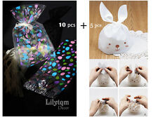 10+5 of Easter Sweets Presentation Cello Cellophane Bunny Bags Party Gifts 15pcs