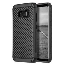 for Samsung Galaxy S8 - Hard Hybrid Armor Impact Phone Case Black Carbon Fiber