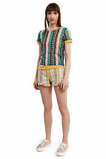 ESPRIT by OPENING CEREMONY Floral and Stripe Printed Mesh Top Medium NEW