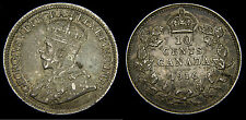 1916 Canada Silver Dime 10 Cents King George V VF-35