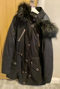 BNWT Very Navy Blue Rose Gold Buttons Fur Hooded Winter Parka Coat Size 12