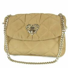 Auth LOVE MOSCHINO Heart Logos Quilted Nylon Chain Shoulder Bag F/S 16494bkac