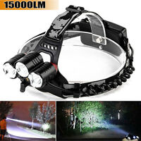 15000LM Cree 3x XM-L T6 LED Headlight Torch Flashlight Headlamp Head Light Lamp