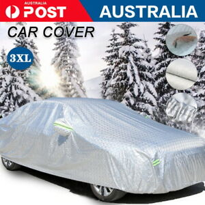 3XL 3Layer Aluminum Waterproof Outdoor Car Cover Double Thick Rain UV Resistant