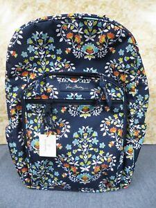 Vera Bradley Chandelier Floral Lighten Up Campus Backpack #15021-382 Blue-New