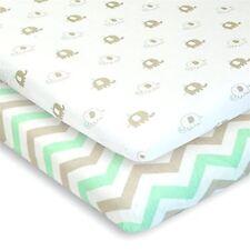 Pack n Play Sheets 2 Playard Sheet Crib Elephant Chevron in Grey Mint