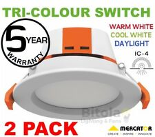NEW 2 x 9W LED DOWNLIGHT CCT TRI COLOUR WARM/NEUTRAL/COOL WHITE MERCATOR APOLLO