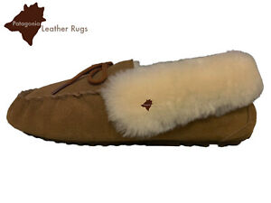 Lambskin lined leather moccasins-Mocassini in pelle foderata in pelle di agnello