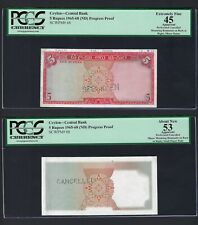 Ceylon 2 Notes 5 Rupees ND(1965-68) P68s Proof XF-AUNC