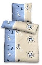 Seersucker Bettwäsche 100% Baumwolle 2tlg 135x200 maritim Meer Strand Anker blau