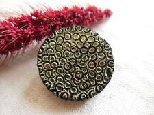 bouton vintage  en résine noir vert alvéole diamètre: 2,6 cm G18A