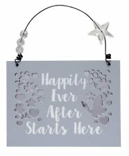 Happily Ever After Starts Here Wooden Hanging Plaque Gift Mirror Mirror Wedding