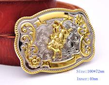 Bull Ride Rodeo Animal Long Huge Rodeo Cowboy Western Shine Belt Buckle Mens