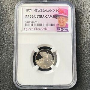 New Zealand 5 Cents 1974 Tuatara NGC PF 69 Ultra Cameo KM# 34.1 TOP POP