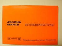 Betriebsanleitung Beschreibung Opel Ascona Manta