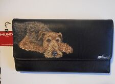 Airedale Terrier dog Portrait Hand Painted Wallet for Women Vegan Leather