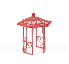 "Red Gazebo, 2.5"" tall x 2"" wide top - Metal - Miniature Fairy Garden Dollhouse"