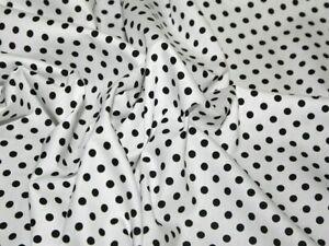White and Black Polka Dot Printed Cotton viscose jersey Dress fabric 150 cm