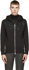 DIESEL Black Hooded Jacket With Leather Panel L Gold Style RRP £170