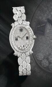 925 Sterling Silver Wrist Watch Women Oval Halo Loose Gem Bracelet Gift Box Stud