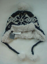 NWT Abercrombie Fitch Knit Fur Trapper Hat Navy Blue Womens