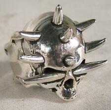 SPIKE SKULL HEAD BIKER RING mens jewelry BR265 silver rings SKELETON BIKER NEW