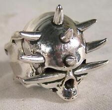 SPIKE SKULL HEAD BIKER RING mens jewelry BR265 silver rings SKELETON BIKER NEW