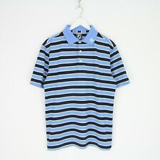 Mens FootJoy Athletic Fit Stripe 3 Button Stretch Golf Polo Shirt M Blue White