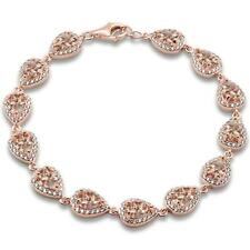 Rose Gold Plated Pear Morganite & Cubic Zirconia .925 Sterling Silver Bracelet