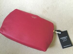Osprey London Red Leather Make up bag - Brand New