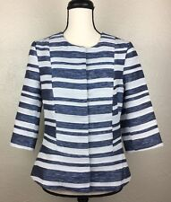 Pim + Larkin Women's Peplum Jacket Blazer Size Medium Blue Stripe 3/4 Sleeves