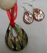 Conjunto de joyas de cristal de Murano forma inusual COLGANTE + PENDIENTES A JUEGO ROJO