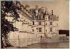 France, Château de Chenonceau Vintage albumen print.  Tirage albuminé  12x17