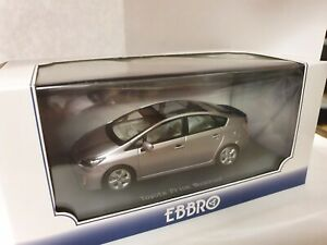 1:43 Scale Model Toyota Prius Hybrid Moonroof 2009 XW30 Silver Ebbro Diecast Car