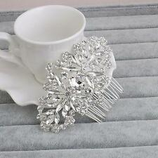 Sliver Wedding Accessories Crystal Hair Comb Rhinestone Bridal Headpiece 1 Piece
