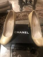 Chanel Beige Patent Leather Heels Pumps Size 39.5 Retail Price $695 With Box