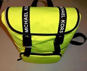 "Michael Kors "" The Michael Bag "" Large Flap Neon Yellow Backpack Bag Purse ~ NWT"