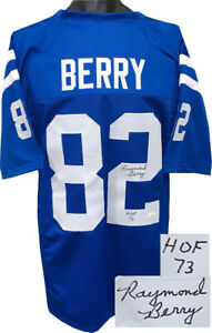 Raymond Berry signed Blue TB Custom Stitched Pro Style Football Jersey HOF- JSA