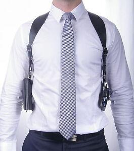 Leather Shoulder Holster for Smartphone, Mobile or Cell Phone + Wallet