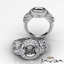 Round Diamond Three Stone Wedding Bezel-Pave Semi Mount Ring 1.15Ct Platinum 950