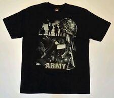 "Black ""Army"", boots, helmet, gun - Hot Rock T-shirt, Both sides printed.  (XL)"